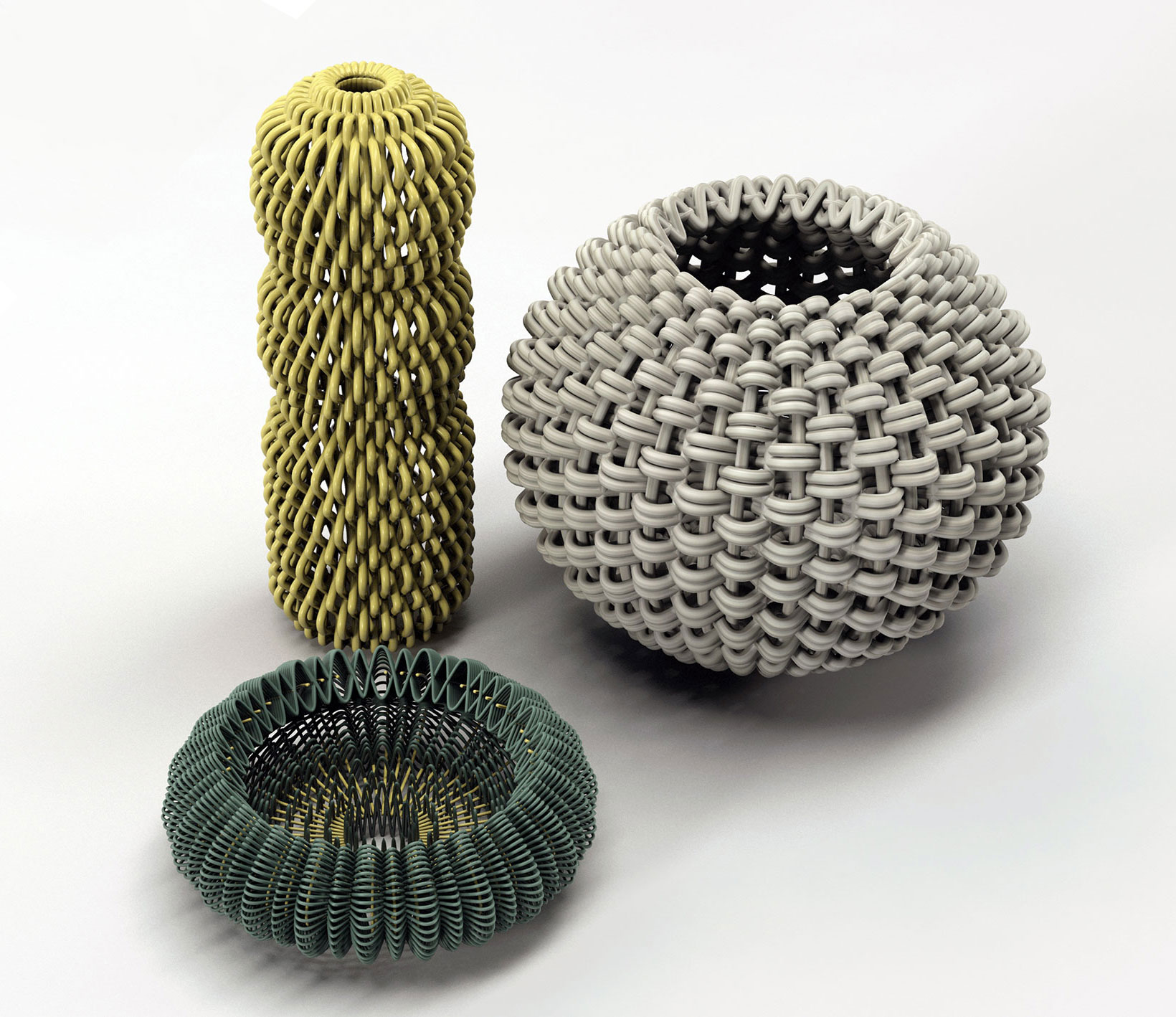 "Designexperiments of knitting structures in the shape of a vase based on para 3d paraflow ""knitting pattern"". All vases are designed for 3d printing. The experiments are done by students as part of ""Digitales Entwerfen 3"", school of design Mainz Germany, lead by Prof. Klaus Teltenkötter, ""Digital Design and mediaarchitecture"". Students: Marianne Statt, Mona Heßler, Johannes Helm, Alisha Kraus, Carla Thalmeier, Julian Vettermann For more information: www.designstrategies.org"